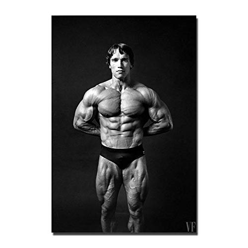 WSHIYI Blanco y Negro Arnold Olympia Bodybuilding Canvas Painting Wall Art Poster Print Room decoration-50x70cm sin Marco