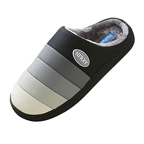 JFFFFWI Zapatos para Caminar para Hombres Zapatillas de casa de Invierno Antideslizantes Zapatos cálidos para el Piso del Dormitorio en Interiores