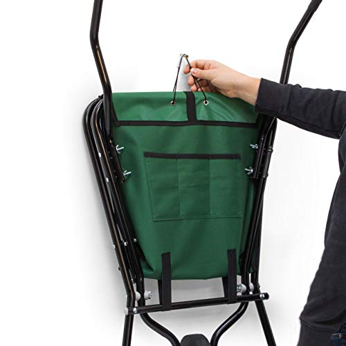 Relaxdays Schubkarre faltbar HBT 66 x 64 x 112 cm Faltschubkarre aus Stahl mit Korb aus stabilem Polyester ca. 56 l Fassungsvermögen platzsparende Gartenkarre zum Aufhängen belastbar bis 30 kg, grün - 3