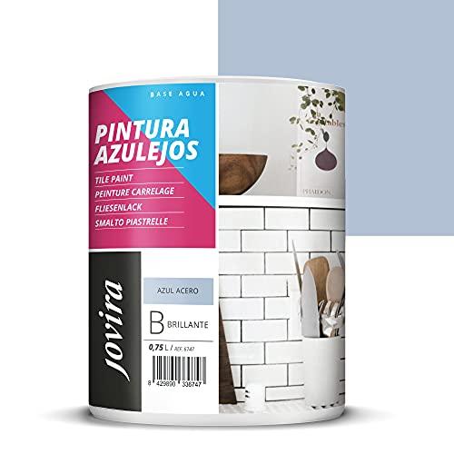 PINTURA PARA AZULEJOS AL AGUA Da una imagen nueva a tu cocina y baño. (750 ml, AZUL ACERO)
