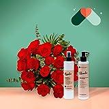 Pack Ramo de 18 rosas + Kit Cosmética - Ramo de flores naturales-Regalo San Valentín-Regalo Día de la Madre - Envío a domicilio 24h GRATIS - Tarjeta dedicatoria de regalo