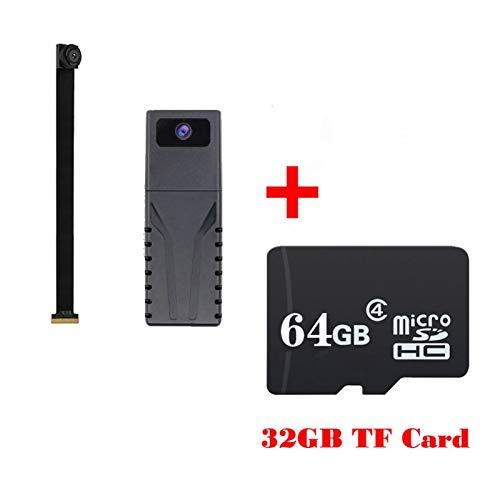 HD 720P DIY portátil WiFi IP mini cámara P2P inalámbrica Micro webcam videocámara grabadora de vídeo soporte remoto visión polea (color con tarjeta TF de 64 GB)