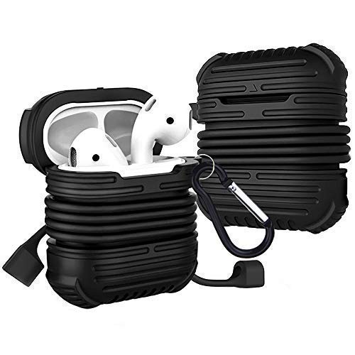 Rugged Airpods Protective Case Compatible for Apple,Airpods Case Shell Portable Cover Storage for Apple Earpods Headphones Waterproof Shockproof with Strap Keychain Big mesh Bag Black
