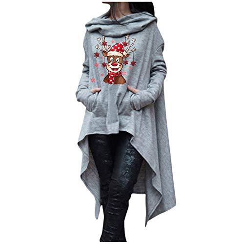 OPIAL Damen Weihnachtskleider Plus Size Langarm Hooded Tops Christmas Print...