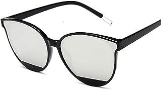 QWKLNRA - Gafas De Sol para Hombre Marco Negro Lente De Color Plateado Retro Espejo Gafas De Sol Mujer Hombre Lujo Vintage Ojo De Gato Gafas De Sol Negras contra-UV Uv400 Ciclismo Viajes Pesca Gafas D