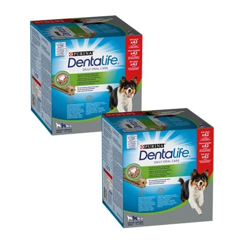 Purina DentaLife Cane Snack per l'Igiene Orale, per Cani di Taglia Media, 2 Confezioni da 42 Sticks Ciascuna, per Un Totale di 84 Sticks - Formato Scorta