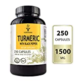 Turmeric Curcumin with Black Pepper for Best Absorption 250 Capsules 1500 mg | Filled with Organic Turmeric | Joint Support | Pain Relief | Anti-Inflammatory | Antioxidant | Memory Support | Non-GMO