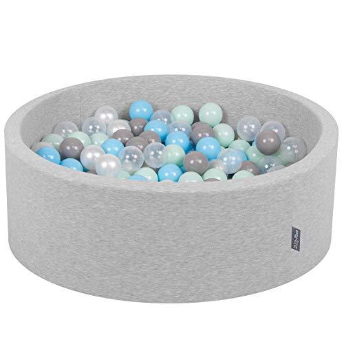 KiddyMoon Bällebad 90X30cm/200 Bälle ∅ 7Cm Bällepool Mit Bunten Bällen Für Babys Kinder Rund, Hellgrau:Perle-Grau-Transparent-Baby Blau-Mint
