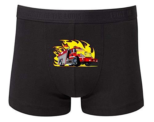 Druckerlebnis24 Boxershort - Feuerwehrauto Flammen Feuer Comic - Unterhose für Herren und Männer