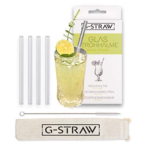 G-Straw Pajitas de cristal transparente con cepillo de limpieza, paño y bolsa de almacenamiento, pajita reutilizable de cristal para batidos, zumos y cócteles (4 x 23 cm, recto)