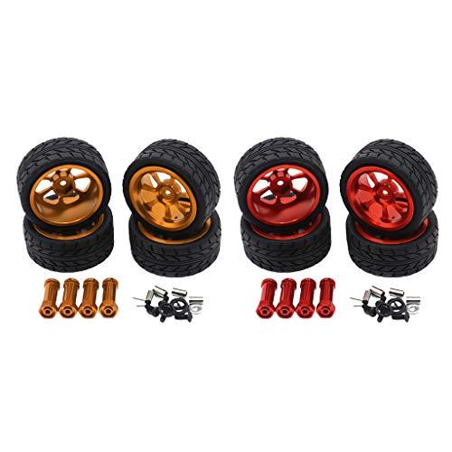 MagiDeal 8pcs 1/14 RC Car Neumáticos Neumáticos Y Ruedas para Wltoys 144001 W / 12mm Hex