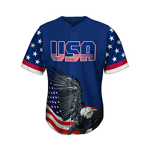 MOLPE American Jersey, America Shirts for Men and Women, Printed USA Eagle Button Down Baseball Jersey (M) Blue