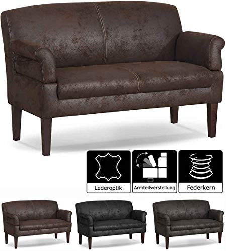CAVADORE 3-Sitzer Küchensofa Malm, Sitzbank für Küche oder Esszimmer in Lederoptik, Inkl. Armteilverstellung, Federkern und moderner Kontrastnaht, 182 x 97 x 78, Mikrofaser: braun