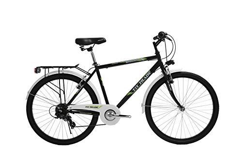 T 26 Zoll Kinder Jungen Herren Jugend City Fahrrad Kinderfahrrad Herrenfahrrad Citybike Cityrad Cityfahrrad Rad Bike Beleuchtung 7 Gang Shimano Booster Schwarz Grün