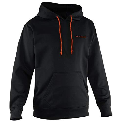 Grundéns Men's Fogbow Poly Tech Hooded Fishing Sweatshirt, Black - Large