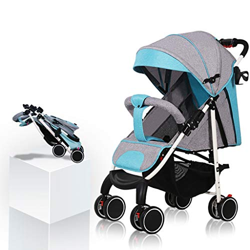 Read About DZFZ Baby Stroller Ultra Light Breathable One-Button Folding Stroller Umbrella High Lands...