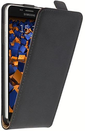 mumbi Echt Leder Flip Case kompatibel mit Samsung Galaxy A5 2016 Hülle Leder Tasche Case Wallet, schwarz
