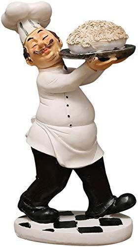 JJDSN Estatua de Chef Decoracin de Cocina Estatuilla Modelo de Cocinero Estatua Resina Adornos Decorativos para panadera Restaurante Bistro Tienda de Pasteles Decoracin Regalo Favor