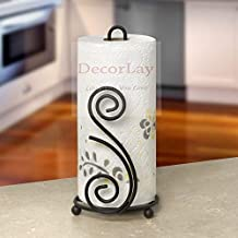Decorlay Paper Towel Holder, Decorative Iron Holder, Non-Slip Stability for Kitchen and Dining Table (Black)