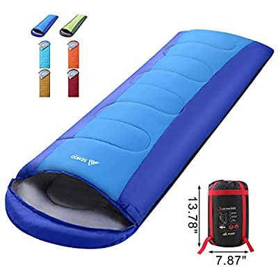 SEMOO Sleeping Bag, Portable Lightweight Water Resistant Temp Rating 42.8F/6C, Comfort 3 Season Envelope Sleeping Bags with Compression Sack Blue