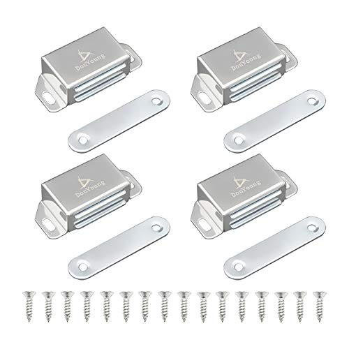 DonYoung Magnetic Latch, 20lb Magnet Cabinet Door Catch 4 Pack, Stainless Steel Screws for Solid Surface, Keep Kitchen Bathroom Cupboard Wardrobe Closet Door Drawer Tightly Closed, Easy Installation