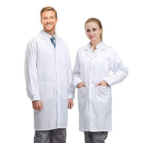 MultiWare Blouse de Laboratoire Blouse de médecin Manteau Blanc de Laboratoire Vetement pour Etudiants Laboratoire Scientifique Infirmière Cosplay en Coton