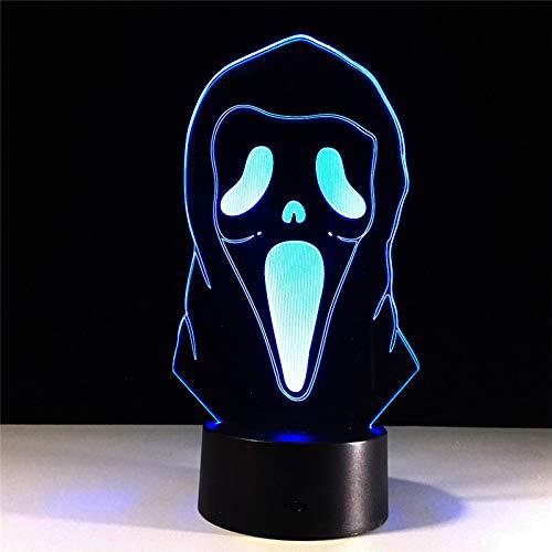 Halloween-masker lamp 3D nachtlampje LED Touch tafellamp 7 kleuren USB stroomvoorziening slaapkamer decoratie voor jongens en meisjes