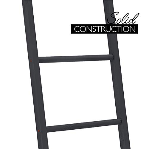 BALIBETOV Premium Pine Wood Decorative Ladder, Blanket Ladder, Towel Ladder Blanket ladders for The Living Room, 5ft Tall Decorative Ladder for Blankets (Black, 5.00)