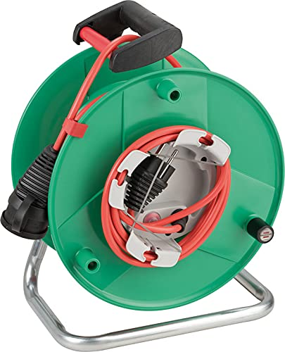 Brennenstuhl Garant G IP44 - Carrete de cable para cortacésped con cable de 38 + 2 m en rojo, plástico especial, uso temporal y temporal al al aire libre, fabricado en Alemania