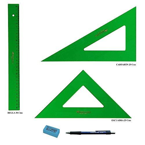 PACK LOTE Faber Castell Técnico - Regla 813-30 Cms + Escuadra 566-25 Cms + Cartabón 666-25 Cms + REGALO