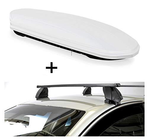 Dakbox VDPMAA460 460 liter wit afsluitbaar + dakdrager K1 MEDIUM compatibel met Hyundai i10 (IA) (5-deurs) vanaf 13