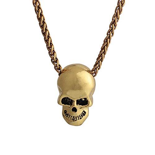 Crneo Creativo Cabeza Collar Personalidad Hip Hop Halloween Colgante joyera Oro