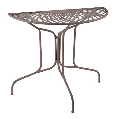 linoows Halbrund Tisch, Wandtisch, Halbrunder Anstelltisch Gartentisch, Antik Braun