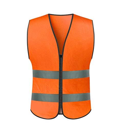 La seguridad Chaleco reflectante Chaleco de tráfico Ropa de seguridad Coche Coche Noche Montar Ropa reflectante Ligero (Color : Orange, tamaño : L)