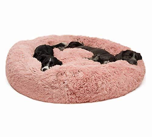 DEEN Flauschiges Fellbett für Hunde und Katzen, tiefschlafend, rund, Donutsofa, mit abnehmbarem Kissen, orthopädisch, gemütlich