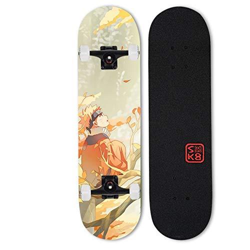Tiakey Arce de 7 capas Mapate Mapate Arce Doble Tild Four-Wheel Skateboard Adulto Juvenil Street Cepillado Profesional Vitalidad Tablero Road Road Street Sart Point Anime Skate, Anime Uzumaki Naruto P