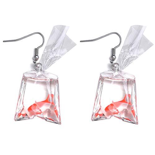 SUNSKYOO Frauen Mädchen Legierung Tier Fisch Baumeln Ohrringe Ohrbügel Clip, ohrbügel rot