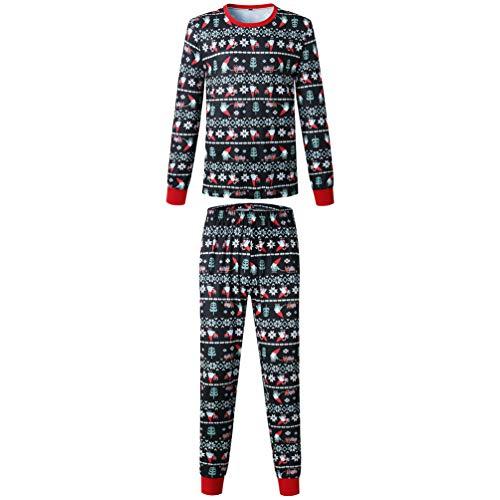 Yuanu Familia Matching Pijama Conjunto Hombre Mujer Niños Bebé Navidad Patrón Impresión Ropa de Dormir...