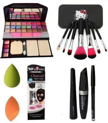 BTN Combo Face Makeup Kit With 7pcs Makeup Brush Set With Tya 6155 Makeup Kit + 2 Pc Beauty Blender Multicolour For Face 01 Charcoal Mask Cream With 3in1 (Kajal+mascara+eyeliner) (Set Of 8)
