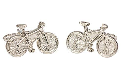 GS CUFFLINKS Gemelos clásicos para hombre, diseño de camisa de bicicleta en color dorado o plateado - Presentados en caja de regalo, Color plateado, Talla única