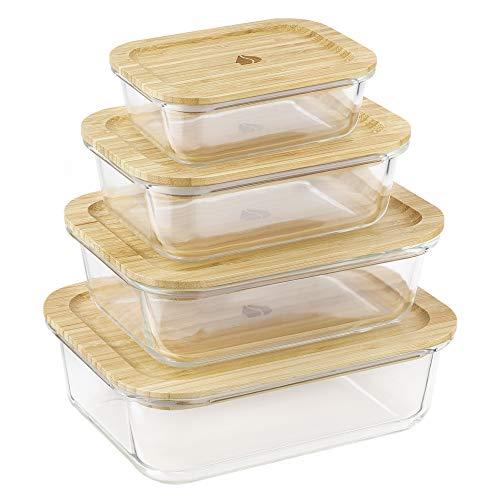Navaris 4X boîte de Conservation Alimentaire en Verre thermorésistant - Boîte rectangulaire avec Couvercle Bambou - Aussi pour Cuisson congélation