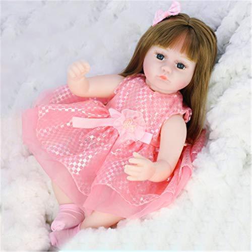 FR&RF 42CM Reborn Bebe Doll 16 Pulgadas Cuerpo de Tela de Silicona Vinilo para Dormir Adorable Realista Niño niña Regalo de cumpleaños para niños,12