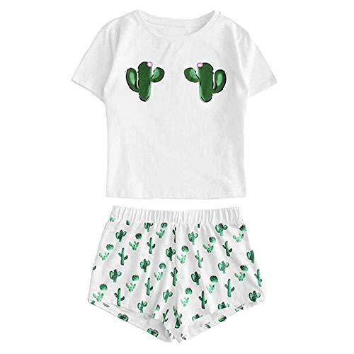 Conjunto de Pijama Estampado Cactus para Mujer Algodón Niñas Pantalones Cortos Casuales Camiseta con Volantes de Manga Corta Ropa de Dormir Conjunto de Pijama Femme