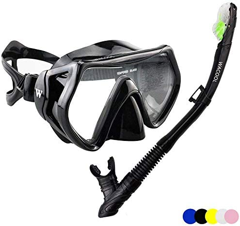 WACOOL Snorkeling Package Set for Adults, Anti-Fog Coated Glass Diving Mask, Snorkel with Silicon Mouth Piece,Purge V...