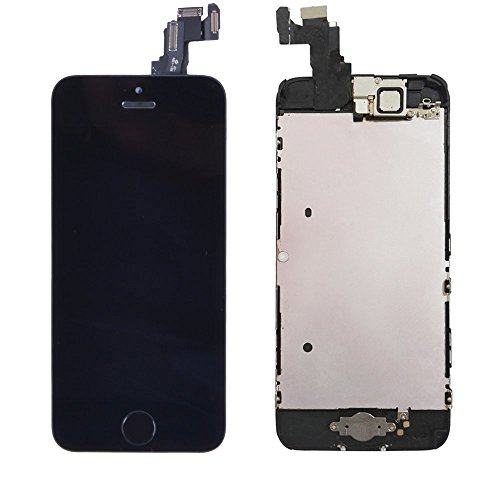 LL TRADER LCD for iPhone 5c Black Display Touch Screen Digitizer Full Assembly Replacement Part (includes Front Facing Camera, Sensor Flex, Shield Plate and Home Button) with All Repair Tools