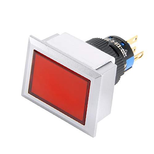 X-DREE AC 220V 2mA Lámpara roja Rectángulo 5 Terminales de enganche 16 mm Interruptor de botón pulsador de rosca SPDT 1NO + 1NC (AC 220V Lampe rouge à 5 bornes à verrouillage filetage 16mm commutateur