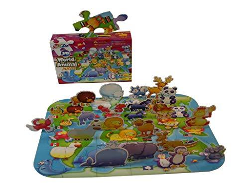 Grafix Mein Erstes 3D Tierpuzzle Für Kinder Ab 3 Jahren - 38 Puzzleteile, Größe: 50 X 40 cm - Zum Spielen Und Lernen - Spielerisch Die Tierwelt Entdecken Kleinkinder