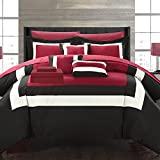 Chic Home Duke Pieced Color Block Bed in A Bag Comforter Set, King, Red