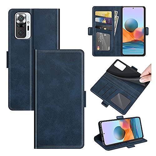 AKC Funda Compatible para Xiaomi Redmi Note 10 Pro/Note 10 Pro MAX Carcasa Caja Case con Flip Folio Funda Cuero Premium Cover Libro Cartera Magnético Caso Tarjetero y Suporte-Azul