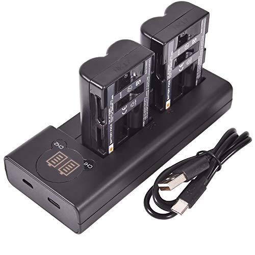 DSTE 2X NP-FM500H Repuesto Batería + Cargador USB Dual con Pantalla LCD...